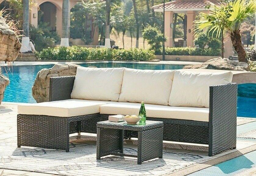 Garden Furniture - Rattan Garden Furniture Corner Sofa Set Grey Brown Black Patio Outdoor Lounge