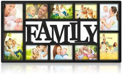 Family Picture Frame Collage Wall Hanging 10 Openings Four 5X7 and Six 4X6 -