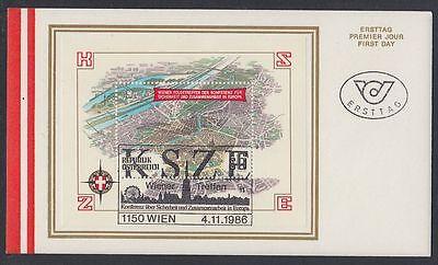 Österreich Austria 1986 FDC Bl.8 KSZE Luftaufnahme Aerial view Wien [af331]