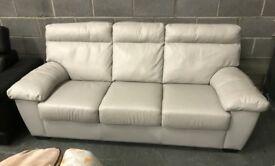 Grey leather 3 seater sofa