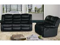 RUBY 3 and 2 seater leather recliner sofa - New