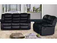 BECKY 3 AND 2 SEATER LEATHER RECLINER SOFA - BRAND NEW