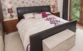 Superking leather bound bed stand with mattress