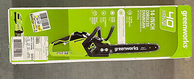 "Greenworks 2012802 14"" 40V Battery Powered Cordless Chainsaw w/ Battery, Charger"