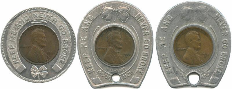 3 Different Never Go Broke Good Luck Tokens Encased 1939, 1950