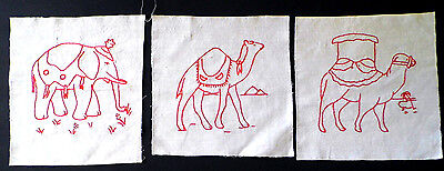 Circus Quilt Set - Vintage RED WORK CIRCUS ANIMALS Quilt Squares SET of 3 Embroidery Camel Elephant