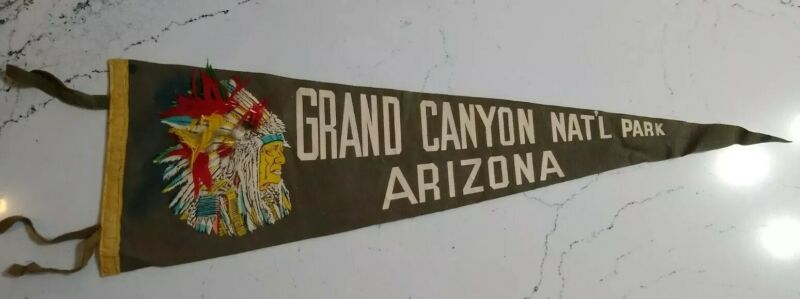 Vintage Grand Canyon Felt Pennant, Arizona, Native American Indian Feathers