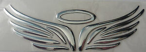 self adhesive sticker chrome silver halo and angel wings car badge 3D logo decal