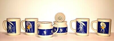 Vintage Set Of 4 Morton Salt Coffee Mugs, Cream & Sugar, When It Rains It Pours
