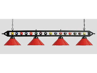"72"" Black Metal Ball Design Pool Table Light Billiard lamp W Red Metal Shades"