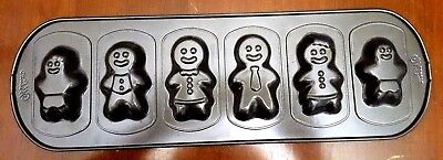 Wilton Gingerbread Cookie Mold Pan 6 Different Figures Non-stick 16.5