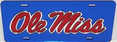 OLE MISS REBELS BLUE INLAID MIRRORED ACRYLIC AUTO LICENSE PLATE CAR (Ole Miss Car Tags)