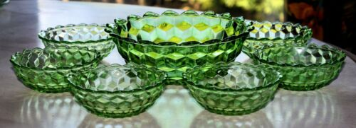 GREEN CUBE CUBIST JEANNETTE 7pc DESSERT SET BERRY BOWLS Pointed DEPRESSION GLASS