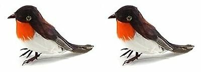 2 Christmas Artificial Robins Feather Birds Tree Table Cake Decoration Craft New