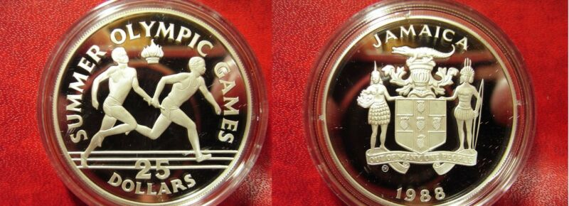 1988 Jamaica Large Silver Proof $25 Olympic Relay Runners