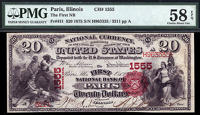"""$20 1875 The First Charter National Bank Note PMG 58 EPQ """"Baptism of Pocahontas"""""""