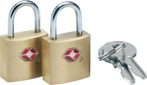 Go Travel  Sentry TSA accepted Brass  Luggage Padlock-2 Key Twin Pack  (Ref 350)