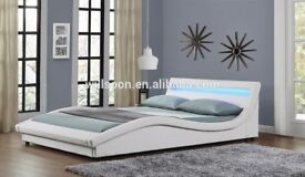Ex Display White Leather LED Bed frame (free local delivery)