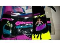 NEw, girls/ladies halloween skeleton costumes/tutu dress and gloves