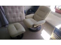 Cream leather Recliner and footstool Santos Eff Chair