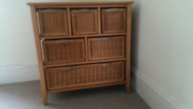 next wicker wooden topped chest of drawers