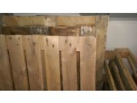 5 large wooden pallets and 2 smaller ones which are free to collector.