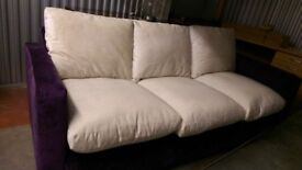 3 seater feature sofa, Purple and Beige, Now reduced for quick sale!
