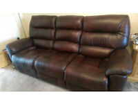 3 Seater Brown Leather Sofa with powered recliners