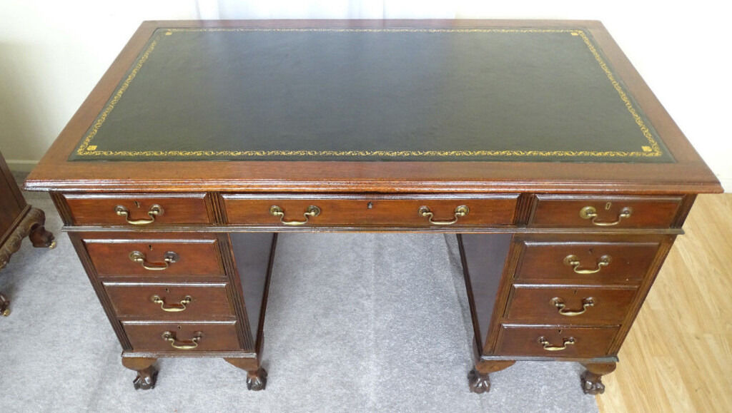 C 1930 Mahogany New Leather Top Pedestal Office Desk 4 5 Ft X 2 6 Ball Claw Feet