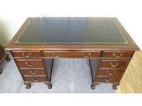 C 1930 Mahogany New Leather Top Pedestal Office Desk 4.5 ft x 2.6 ft Ball&Claw Feet