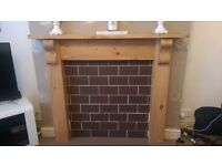 Pine fire surround mantle piece fire place