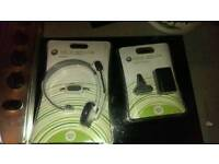 Xbox 360 NEW head set and play charge kit