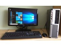 "HP Windows 10 Pro Slim PC Computer/WIFI/2GB RAM/80GB/19""Monitor"