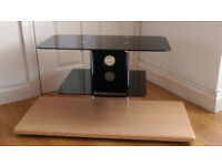 Black Glass & Beech Wood TV Stand