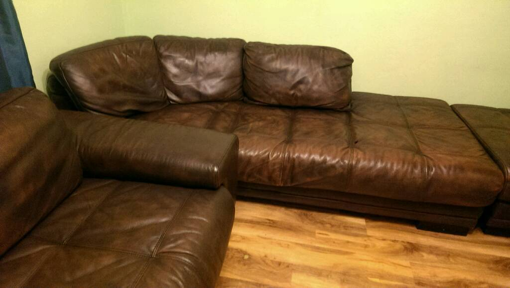 Leather settees & pouffee