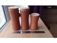 Jamie Oliver JME - Terracotta Storage Jars - 2 Large 1 Small - Kitchen