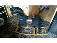 Mama's & Papas Large Black Vintage Rocking Horse