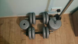 York 32kgs Dumbell x2 and Barbell x 1 in good condition.. great for home exercises..