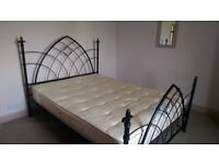 BED FRAME - king size, painted steel with fleur de lys finials