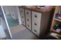 Filing cabinets 3-drawer. Set of 2 left. Like NEW, Cream & brown. Lockable with suspension files.