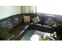 Leather Chocolate Brown Corner Suite and 2 Seater Sofa