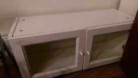 IKEA BILLY wheeled glass fronted cupboard