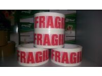 Fragile marked strong and sticky tape