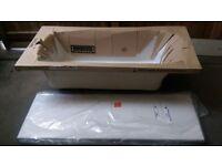 Brand New Jacuzzi Elatus Pro White Bath Tub 1500 X 685mm with Legs & Side Panel
