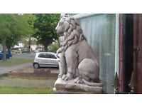 Stone Lions Wall or Garden Ornament