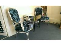 Beautiful crushed velvet French Louis Chairs & Mirrored Table