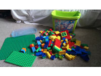 Box /Tub of 210 Lego Duplo bricks and large lego duplo base board and smaller one