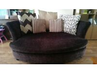 2 Large brown sofas for sale with matching pouffe