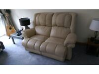 Leather 2 seater sofa and 2 arm chairs.