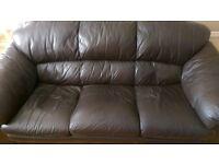 5 seater black leather sofa.